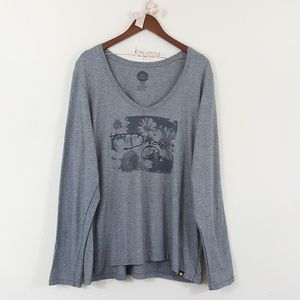 Life is Good Gray Dream On Floral Graphic Top XXL